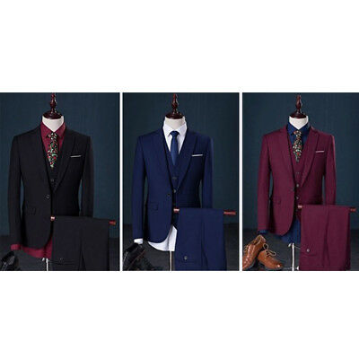 3 Pieces Men One Button Slim Fit Wedding Party Suits Business Jacket Pants Vest