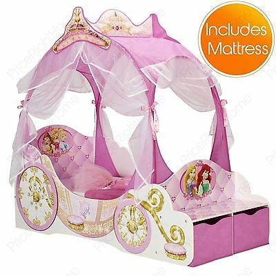 Disney Princess Carriage Toddler Bed With Storage + Mattress New