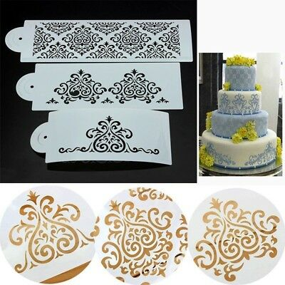 Kitchen Baking Tool Cookie Cake Border Stencil Mould Damask Lace Flower Fondant