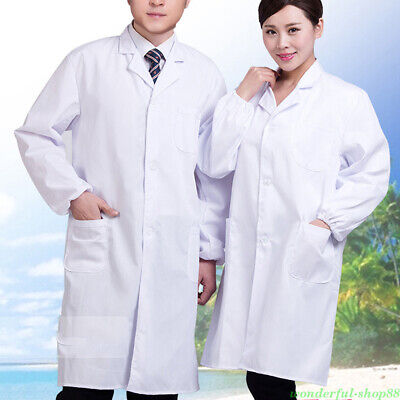 S-XXXL White Lab Coat Medical Nurse Doctor Coat Hospital Uniform Laboratory