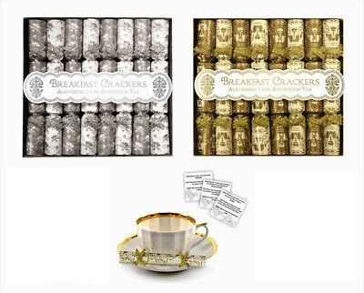 Mini Christmas Crackers Saucer Crackers Pack of 16 Breakfast Crackers Gold Xmas
