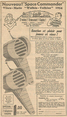 1954 Space Commander Vibro-Matie Walkie-Talkies Toy Original Ad In French