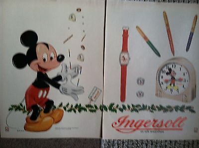 """rare 2pg 1948 INGERSOLL MICKEY MOUSE WATCH CLOCK PEN RING 10x14"""" MAGAZINE AD"""