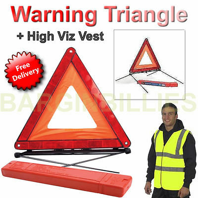 New Car Warning Triangle Reflective Emergency Breakdown + High Visibility Vest
