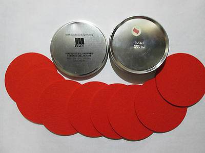 VFG Set of 8 Coasters in VFG metal Can RED Dented lid #2