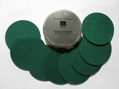 VFG Set of 8 Coasters in VFG metal Can GREEN