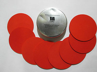 VFG Set of 8 Coasters in VFG metal Can RED Dented lid #1
