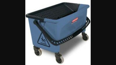 Rubbermaid Commercial Finish Bucket, With Lid, For Microfiber Flat Mop, Blue