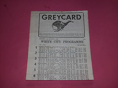 1978 Greycard White City Manchester Greyform greyhound racing guide DOGS