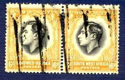 South West Africa-1937-#131-Coronation Issue Se-Tenant Pair-Used