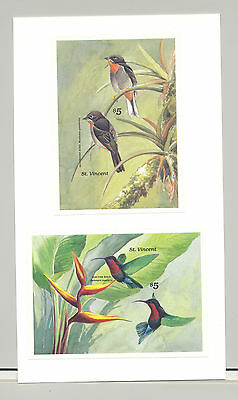 St Vincent #1192-1193 Birds 2v S/S Imperf Proofs Mounted on 1v Card