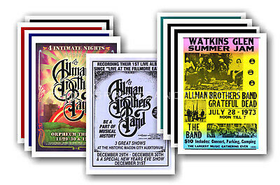 ALLMAN BROTHERS  - 10 promotional posters - collectable postcard set # 1