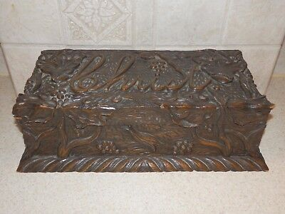 Vintage Folk Art Box Highly Carved Christ On Lid With Florals Very Nice!