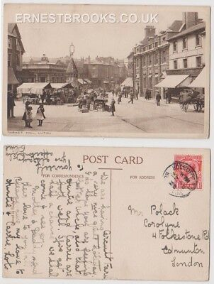 Early Postcard, Bedfordshire, Luton, Market Hill, Old Stalls, Old Shops, 1922