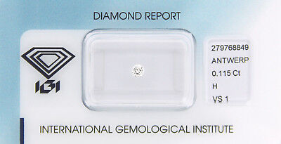 Diamant 0,115 ct H VS 1 IGI Zertifikat  - Sealed -