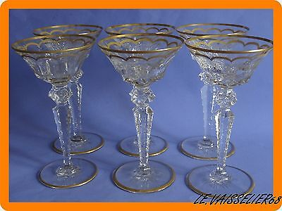Six Champagne Glasses Saint Louis France Crystal Pattern Excellence Gold