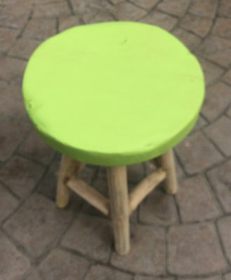 Small wooden stool foot step milking seat coffee table Rustic wood & green seat