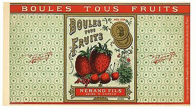Boules Tous Fruits, Berries, AN ORIGINAL 1920's FRENCH CANDY LABEL, Large, F04