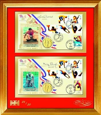 1996 Olympic Covers - Signed by Mary Rand and Lynn Davies - Framed