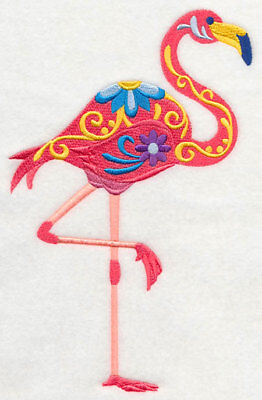 Embroidered Short-Sleeved T-Shirt - Flower Power Flamingo M5077