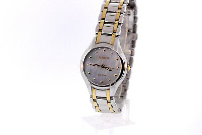 Ladies Citizen EM0284-51N Eco-Drive SILHOUETTE Two-Tone Stainless MOP Dial Watch