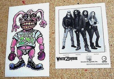 White Zombie 1995 Vintage Promo Sticker & Original 1992 Press Promo Photo Card