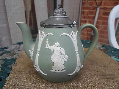 Antique Green Dip Jasper Ware Teapot with Pewter Lid  Wedgwood ??