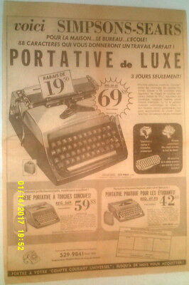 1965 Simpsons-Sears Cavalier Typewriter Original Ad In French