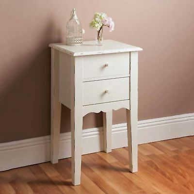 Shabby Chic White Wooden Bedside Chest 2 Drawer Side Table Bedroom Hallway