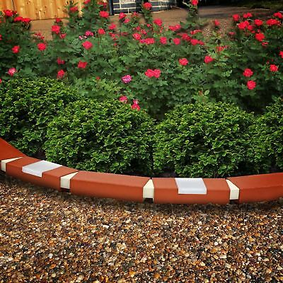 10 Pack Plastic Brick Effect Garden Lawn Edging Plant Border With Lights