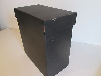 """12"""" VINYL RECORD STORAGE BOXES-x1 DOUBLE WALL CARD BLACK+WHITE+LID!NEW!  SALE!!!"""