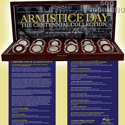 ARMISTICE DAY - Set of 12 Silver Coins from The Great War in Wood Box with COA