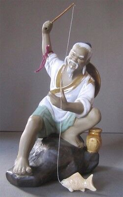 """Signed 8"""" Chinese Mud Man With His Fish and Pole"""