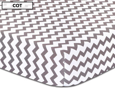 Itsy Bitsy Be Brave Chevron Fitted Cot Sheet - Grey/White