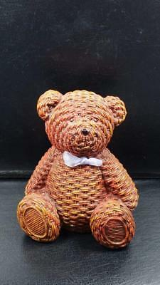 Unusual BEAR Figurine - Piggy Bank, Woven Wicker Like - Original Stopper, Sweet!