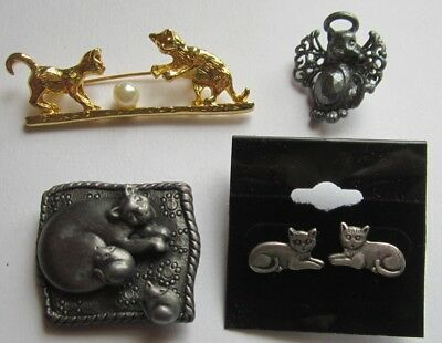 Pair of Sterling Earrings Along with Other Fun Kitty Jewelry Pieces