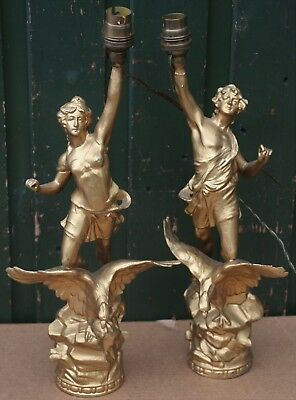 2 Old Metal Figures Standing On Eagles And Converted Into Table Lamps To Restore