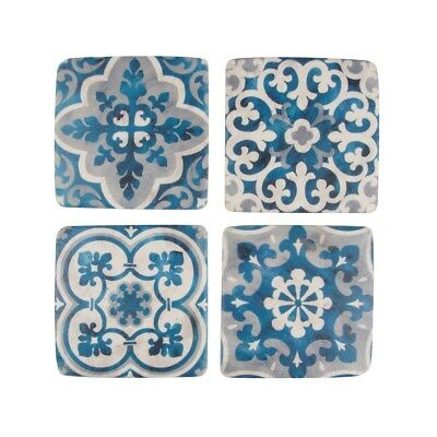 Sass and Belle Set of 4 Mediterranen Mosaic Santorini Blue and resin coasters