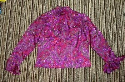 "Vtg Retro Hardy Amies Blouse Top 60s 70s Paisley Print Original 36"" bust Hippy"