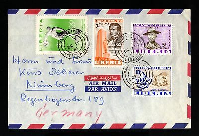 16605-LIBERIA-AIRMAIL COVER PAYNEFIELD to NURNBERG (germany) 1961.Aerien.