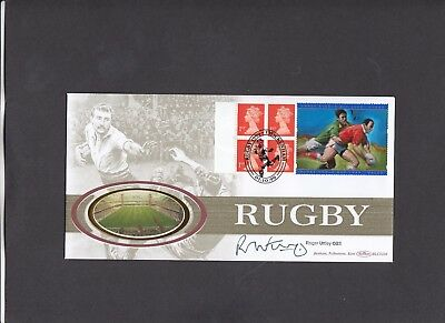 1999 Rugby World Cup booklet pane Benham FDC signed by Roger Uttley OBE