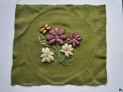 Excellent 3D Hooked Floral With Bee on Avocado Green Burlap