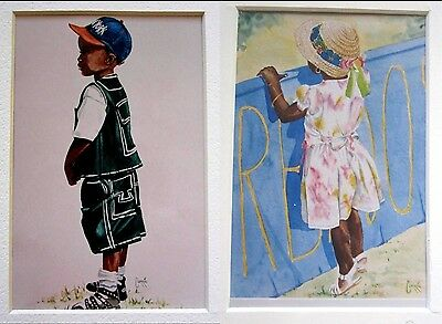 Pair of Sweet African American Corac Matted Prints With a Baseball Theme