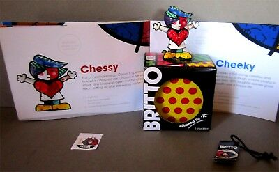 "Chessy First Edition Romero Britto 2.5"" Figurine NIB With Catalog Diary"
