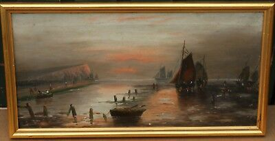 Old Gilt Framed Painting On Canvas Of Boats Etc By W H Day    (2