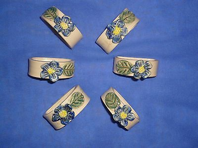 Vintage Ceramic/Glazed Pottery Napkin Rings with Blue Flower Motif ~ 6 Pieces