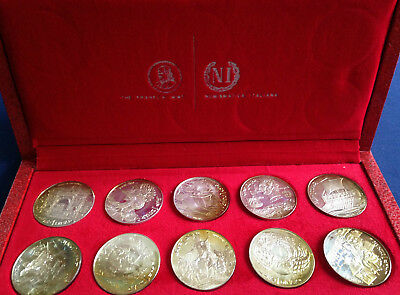 1969 Franklin Mint 1 Dinar Tunisia 10 Coin Silver Proof Set + Box & COA M1661