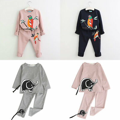 New Baby Girls Outfit Casual 2Pcs Set Printed Autumn Long Sleeve Kids Clothes