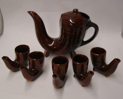 Keramik Teapot & Cups Pipe Style Tea Set Lot of 6 Sippers