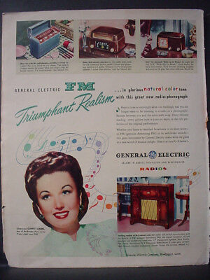 1947 General Electric Radio FM Ginny Simms Borden Show Vintage Print Ad 12693